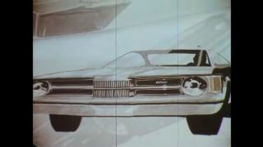 UNITED STATES: 1960s: sketches of cars. Men plan inside dimension of car.