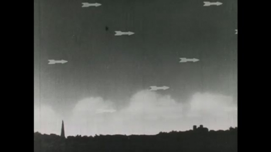 United States: 1940s: arrows show movement of clouds in sky. Wind moves clouds in sky