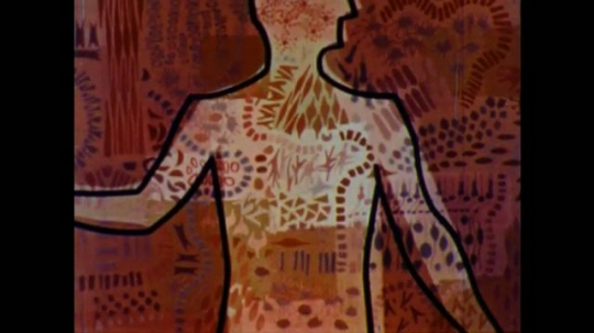 United States: 1960s: outline drawing of human body. Animation of blood vessels in human body. Animated heart pumps blood around body. Animation of blood vessels.