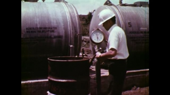 UNITED STATES: 1970S: truck delivers explosives to canal site in Panama.
