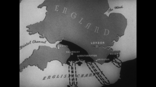 Europe 1940s: animated map of Nazi invasion. London on map. Nazi symbol. British fleet in harbour.  Arrows from Europe towards the west.