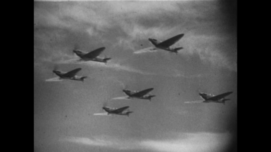 Europe 1940s: spitfire planes in sky. Animation of planes in sky. Parachute lands next to ship in sea.