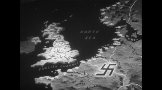 Europe 1940s: animated map of coastline from Britain to Norway. Men on boats. Soldiers relax. Soldiers look after horses. German soldiers prepare supplies and guns. Gunfire.