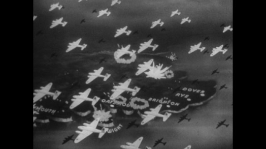 Europe 1940s: animated map of south coast of England. Title for Hell's corner on map. Planes in sky, guns fire from coastal defences. Pilot view of air Dover.