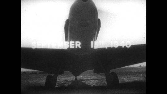 Europe 1940s: title for September 15th 1940. Soldiers prepare Luftwaffe planes. Planes takes off.