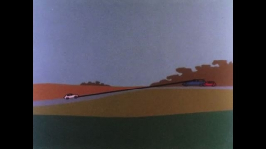 UNITED STATES 1970s: Animation of cars on hill. Black line from white car to blue car. Red line from red car to white car. Car drives at night with headlights on.
