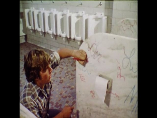 UNITED STATES 1970s: Young man graffitis a bathroom stall, a fine art statue is splattered with red paint, a tree painting is splattered with black paint, graffiti of a swastika on a wall.