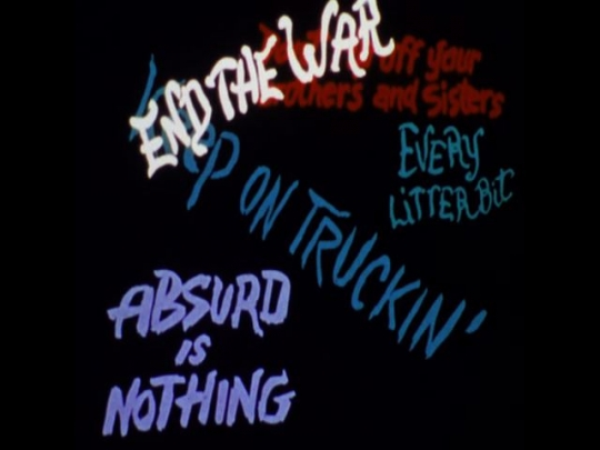 UNITED STATES 1970s: Animation of some graffitied slogans.