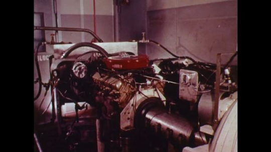 UNITED STATES: 1970s: emission testing of cars in lab.
