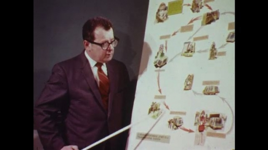 UNITED STATES: 1970s: man points at board with stick. Urban planning meting. House development