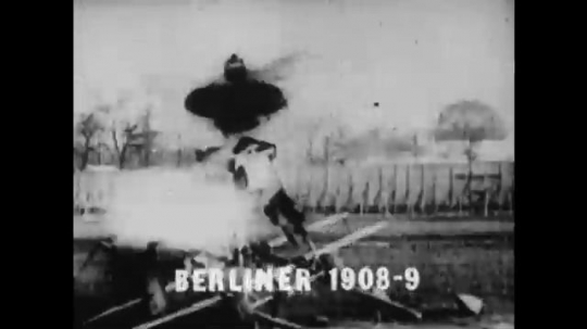 UNITED STATES: 1950s: Early aircraft designs, Berliner 1908-1909.  Oehmichen 1920 and 1922. Men try to catch aircraft