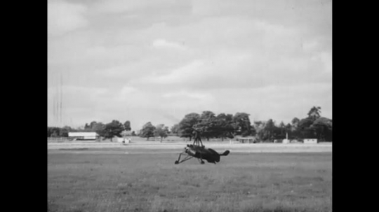 UNITED STATES: 1950s: auto gyro takes off from ground. Auto gyro in sky. Helicopter testing in 1930. Nicolas Florine