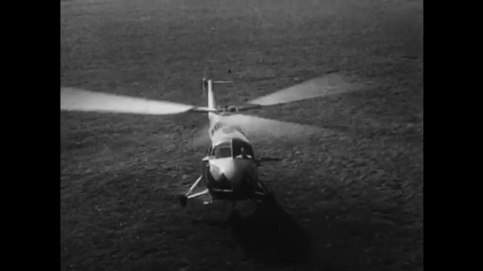 UNITED STATES: 1950s: British Bristol 171 helicopter takes off. Cierva Autogiro airhorse helicopter.
