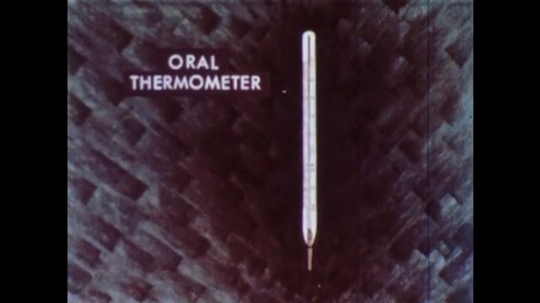 UNITED STATES 1960s: Animation of oral thermometer, arrows point to features.