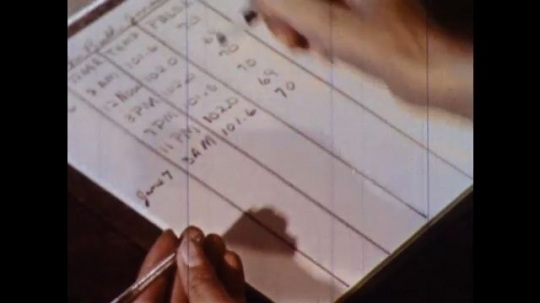 UNITED STATES 1960s: Hand writes notes on chart.