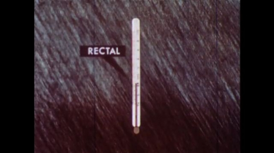 UNITED STATES 1960s: Animation of rectal thermometer compared to oral thermometer.