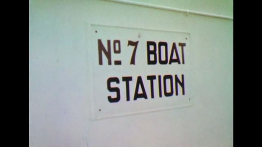 UNITED STATES: 1950s: No 7 boat station sign. Ship