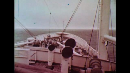 UNITED STATES: 1950s: View across ship