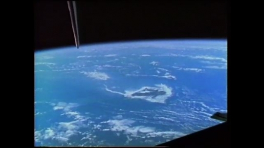UNITED STATES: 1980s: view of Hawaii from space. Astronaut takes photos of Earth from space.