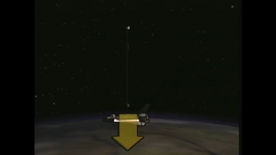 UNITED STATES: 1990s: animation of satellite tethered to space shuttle above Earth. Arrow above shuttle.