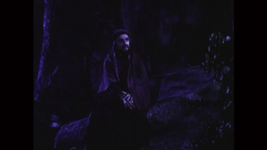 UNITED STATES: 1950s: Judas walks through woods at night. Judas sits on rock and thinks.