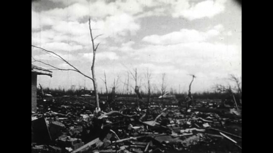 ALASKA 1960s: Houses and buildings torn down after 37 tornadoes in a single day in the west.