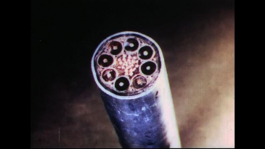 UNITED STATES 1950s: Phone cable cross section / Close up of cross section.