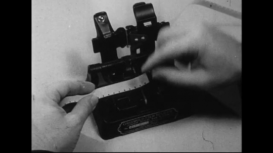 1940s-1960s : A piece of damaged film is cut to make it fit with another film piece.