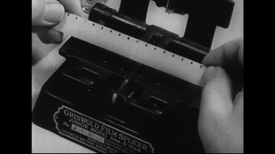 1940s-1960s : A film splice is produced from two tapes cemented together as the process of splicing is shown.