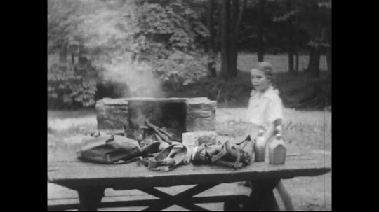 UNITED STATES 1940s: Dad and kids clean up picnic table / Boys take wood from fire pit.