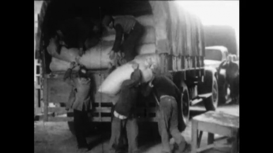 UNITED STATES 1950s: Sacks of food and other commodities are loaded into trucks.