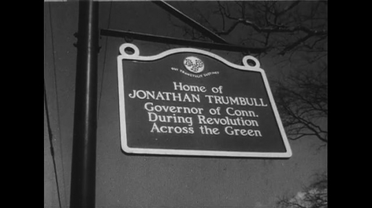 UNITED STATES 1950s: Historical marker for Jonathan Trumbull home / Trumbull house / Revolutionary War office / Sign for war office.