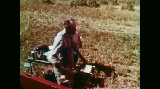 1950s: Man at table in field, woman brings man bucket. Man washes face. Man sits at table, girl serves food. Close up of girl, tilt down, man takes drink.