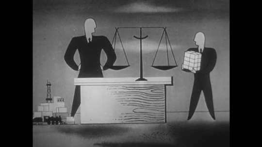 1950s: Animation, men weighing items in scale. Men with piles of goods. Men with smaller pile. Men weigh items in scale.