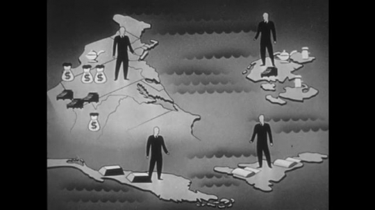 1950s: Animation of goods moving between nations.