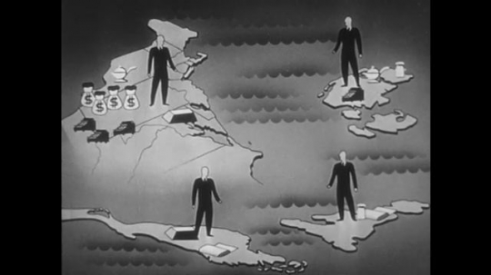 1950s: Animation of goods moving between nations. Men talking in office.