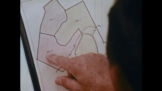 UNITED STATES: 1970s: finger points at map of trees. Man chops down tree trunk with machine chainsaw.