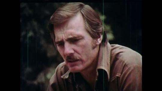 1970s: UNITED STATES: boy talks to man. Man speaks in woods. Close up of man's face. Man tells children story. Boy listens